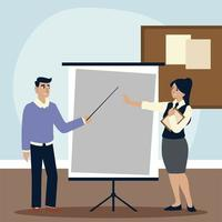businessman and businesswoman character with presentation board vector
