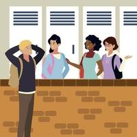 student man and girls talking campus design vector