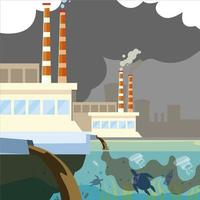factory plant pollutes, trash emission from pipes to river water vector