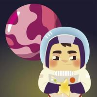 space astronaut in suit with helmet star and planet cartoon vector