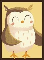 lindo búho pájaro retrato vida silvestre animal de dibujos animados vector