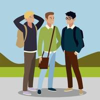 men students character with bags in the outdoors vector