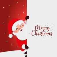 merry christmas greeting card santa and hand drawn lettering vector
