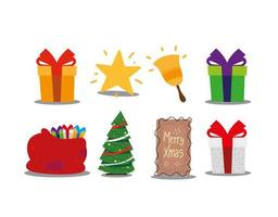 merry christmas gifts tree star bell and bag celebration decoration vector