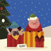 merry christmas cute dog in box pig with sweater and gift tree vector