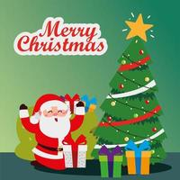 merry christmas, santa claus with tree and gift boxes greeting card vector