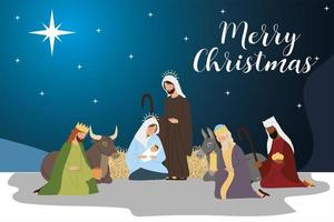 merry christmas mary jospeh baby jesus wise kings and animals manger vector