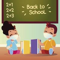 Back to school of girl and boy kid with medical masks and notebooks vector