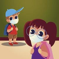 Back to school of girl and boy kid with medical masks and hat vector
