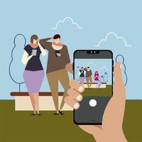mano con teléfono inteligente tomando una foto personas que usan teléfonos inteligentes vector