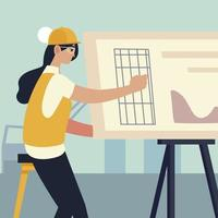 woman architect working on architecture project with drawing board vector