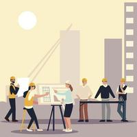 builders and architects, workers architect contractor and designers vector