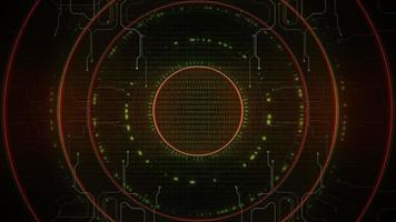 Cyberpunk background with spiral computer circles on numbers and grid video