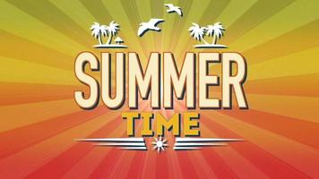 Animated text Summer Time with sun rays on birds and palms video