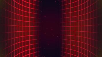 Motion retro red glitters and grid on abstract futuristic background video