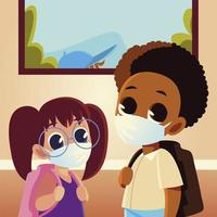 Back to school of girl and boy kid with medical masks and bags vector