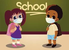 Back to school of girl and afro boy kid with medical masks vector