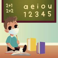 Back to school of boy kid with medical mask and notebooks vector