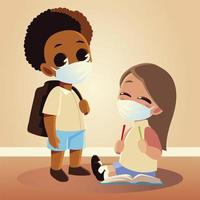 Back to school of girl with pencils and boy kid with medical masks vector