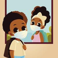 Back to school of girl at window and boy kid with medical masks vector