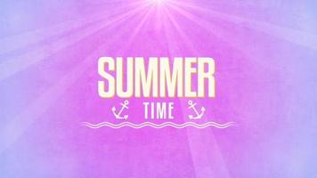 Animated text Summer Time with sun rays and sea anchor video