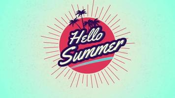 Animated text Hello Summer with palms and sun rays video