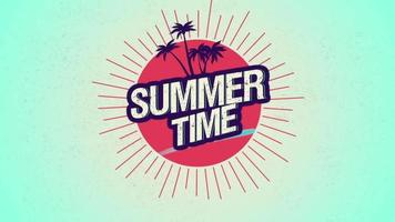 Animated text Summer Time with palms and sun rays video