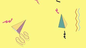Motion abstract geometric triangles and zigzag on yellow Memphis video