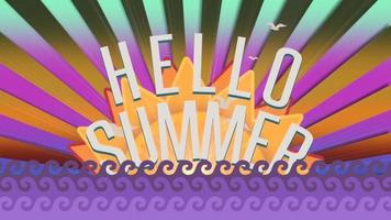 Animated text Hello Summer with sea waves and sun rays video