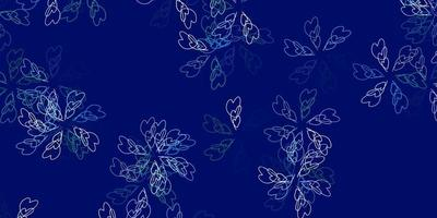 Light blue, green vector abstract template with leaves.