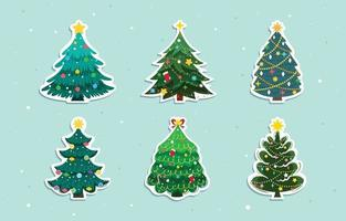 Christmas Tree Stickers Pack vector
