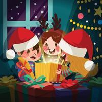 Little Kids Opening Christmas Gift Box vector