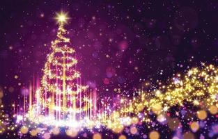 Sparkling Magical Christmas Tree Background vector