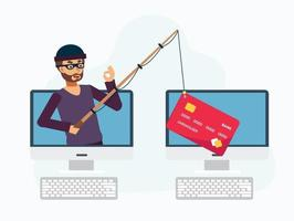 Hacker stealing credit card with fishing rod, hacker online thief vector