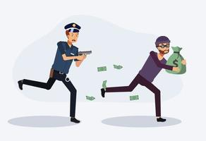 Policeman chasing a thief combating crime. vector
