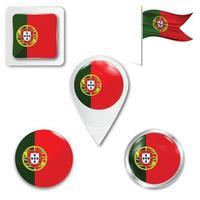 conjunto de iconos de la bandera nacional de portugal vector