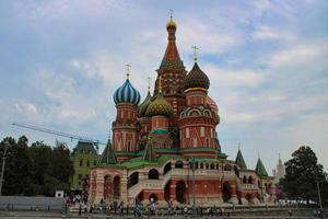 St. Basil's Cathedral at famous Red Square  in the heart of Moscow photo