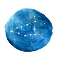 Capricorn constellation icon of zodiac sign. Watercolor illustration. vector