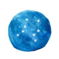 Libra constellation icon of zodiac sign. Watercolor illustration. vector