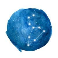 Leo constellation icon of zodiac sign. Watercolor illustration. vector