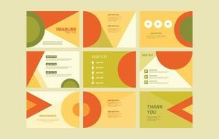 Orange and Green Geometric Presentation Template vector