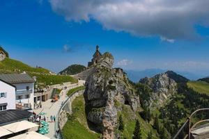 Summit of Wendelstein Mountain on a busy touristic day in summer photo