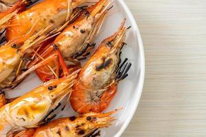 Grilled river prawns or shrimps photo