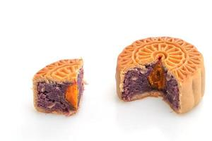 Chinese moon cake purple sweet potato and egg yolk flavour photo