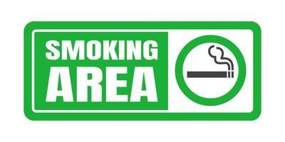 Smoking area sign. Green circle cigarette icon sign. vector