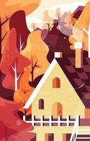 Mountain Cabin in Autumn vector