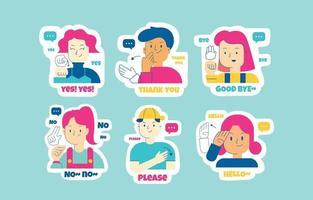 Sign Language Sticker Set vector