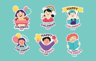Set of Happy Children Day Sticker vector