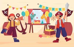 Birthday Party Pirates Kids Background vector