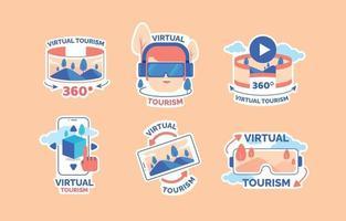Virtual Tourism VR Concept Sticker vector
